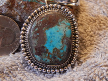New Bisbee Turquoise Sterling Silver Pendant By Navajo Geraldine James