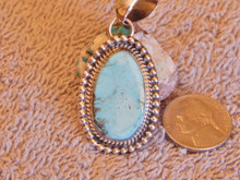 New Sky Blue Bisbee Turquoise Sterling Silver  Pendant By Navajo Geraldine James