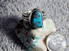 Ladies Bisbee Turquoise Sterling Silver Ring by Navajo Russell Sam Size 5