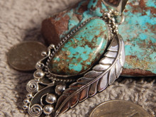 New Bisbee Turquoise Sterling Silver Leaf Pendant  Navajo Geraldine James