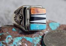Light Weight Sterling Multi Stone Inlay Unisex Ring Navajo T Lincoln Size 6 1/4