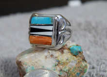 Light Weight Sterling Multi Stone Inlay Unisex Ring Navajo T Lincoln Size 7 1/2