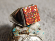 New Sterling Silver Created Opal Inlay Navajo Ring Wilbur Gray Size 10 1/4