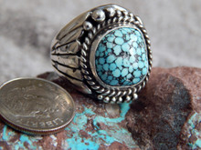 Mens Sterling Black Spiderweb Turquoise  Ring Navajo Lorenzo James Size 8 1/2