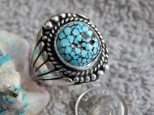 Mens Sterling Black Spiderweb Turquoise Ring Navajo Lorenzo James Size 9 1/2