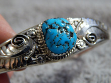 Kingman Turquoise Sterling Silver Ladies Bracelet By Navajo Ray Yazzie
