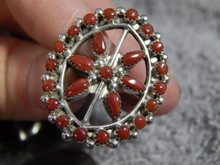 New Ladies Sterling Silver Coral Ring by Zuni Artist Delores Peina Size 6 3/4
