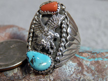 New Sterling Silver Turquoise Coral Eagle Ring Navajo Mike Thomas Size 9
