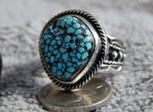 Mens Black Web Turquoise Sterling Silver Ring by Navajo Russell Sam Size 12