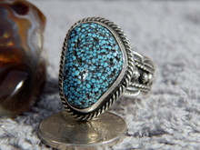 Mens Black Web Turquoise Sterling Silver Ring by Navajo Russell Sam Size 13
