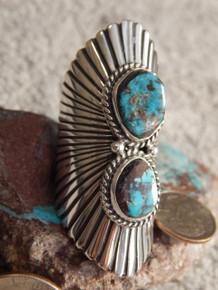 Bisbee Turquoise Sterling Silver Ladies Ring Navajo Robert Shakey Size 12