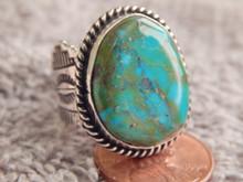 Ladies Bisbee Turquoise Sterling Silver Ring Navajo Robert Shakey Size 5 1/4
