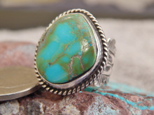 Ladies Bisbee Turquoise Sterling Silver Ring Navajo Robert Shakey Size 5 1/2