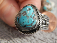 Mens Bisbee Turquoise Sterling Silver Ring by Navajo Russell Sam Size 10 1/4