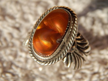 Fire Agate  Sterling Silver Ladies Ring By Navajo Geraldine James Size 9 1/4