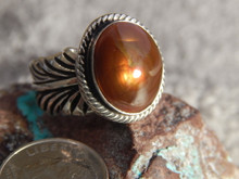 Fire Agate  Sterling Silver Ladies Ring By Navajo Geraldine James Size 9