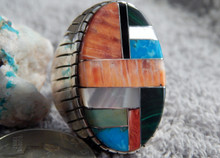 Mens Silver Turquoise Spiny Oyster Inlay  Ring Navajo Ray Jack Size 12 1/4