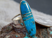 Ladies Silver Kingman Turquoise Inlay Ring  Navajo Harold Smith Size 8 1/2