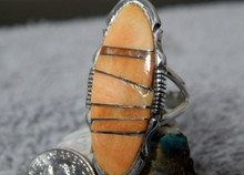 Ladies Sterling Silver Spiny Oyster Inlay Ring Navajo Steve Francisco Size 8