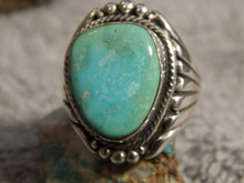 New Bisbee Turquoise Sterling Silver Ring  by Navajo Russell Sam Size 14 3/4
