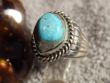 Mens Bisbee Turquoise Sterling Silver Ring by Navajo Geraldine James Size 11