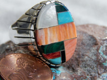 New Mens Silver Turquoise Spiny Oyster Inlay Ring  Navajo Ray Jack Size 11 1/4