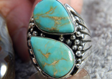 New Kingman Turquoise Sterling Silver Ring by Navajo Russell Sam Size 11
