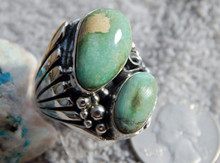New Kingman Turquoise Sterling Silver Ring by Navajo Russell Sam Size 10 3/4