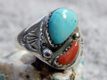 Light Weight Unisex Silver Coral Turquoise Ring Navajo Mary Lincoln Size 11