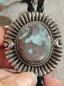 Bisbee Turquoise Sterling Silver Bolo Tie By Navajo Geraldine James New