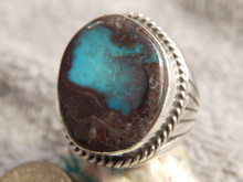 Smoky Bisbee Turquoise Sterling Silver Mens Ring by Navajo R. Sam Size 9 3/4