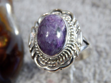 New Ladies Sterling Silver Chaorite Ring By Navajo Virgil Chee Size 9