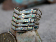 Sterling Silver Created Opal Inlay Ladies Ring Navajo Andrew Enrico Size 7 3/4