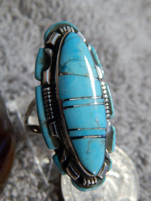 Ladies Sterling Silver Turquoise Inlay Ring Navajo Steve Francisco Size 7 1/4