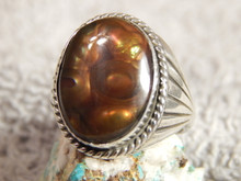 New Mens Fire Agate Sterling Silver Ring by Navajo Russell Sam Size 13