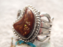 New Fire Agate Sterling Silver Unisex  Ring by Navajo Russell Sam Size 9 1/4