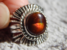 New Fire Agate Sterling Silver Unisex  Ring by Navajo Russell Sam Size 6 1/4