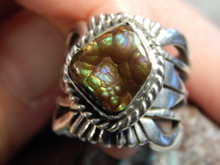 New Fire Agate Sterling Silver Unisex Ring by Navajo Russell Sam Size 5 1/4