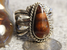 New Fire Agate Sterling Silver Unisex Ring by Navajo Russell Sam Size 9