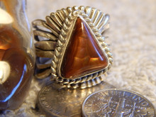 New Fire Agate Sterling Silver Unisex Ring by Navajo Russell Sam Size 7 1/4
