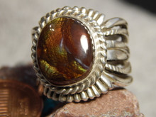 New  Fire Agate Sterling Silver  Unisex Ring by Navajo Russell Sam Size 8