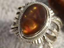 New Fire Agate Sterling Silver Mens Ring by Navajo Russell Sam Size 11 1/2