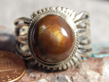 New Fire Agate Sterling Silver Mens Ring by Navajo Russell Sam Size 13 1/4