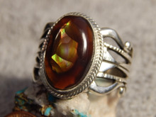 New Fire Agate Sterling Silver Mens Ring by Navajo Russell Sam Size 14 1/2