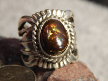 New Fire Agate Sterling Silver Unisex Ring by Navajo Russell Sam Size 6