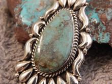 Bisbee Turquoise Sterling Silver  Repoussé Pendant Navajo  Geraldine James