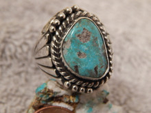 Bisbee Turquoise Sterling Silver Mens Ring Navajo Lorenzo James Size 10 1/2