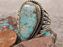 Bisbee Turquoise Sterling Silver Mens Ring by Navajo Russell Sam Size 12 1/4