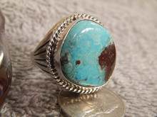 Bisbee Turquoise Sterling  Silver Mens Ring by Navajo Russell Sam Size 11