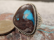 Bisbee Turquoise Sterling  Silver Mens Ring by Navajo Russell Sam Size 13 1/4